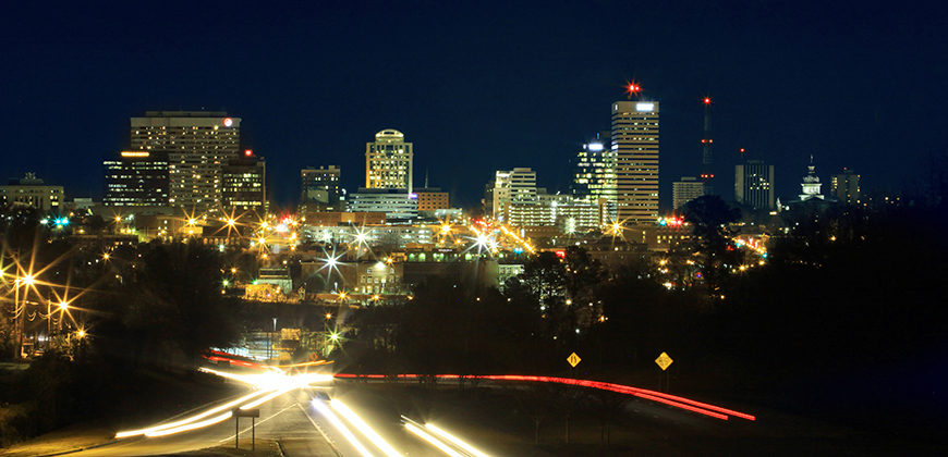 A photo of the city of Columbia skyline.