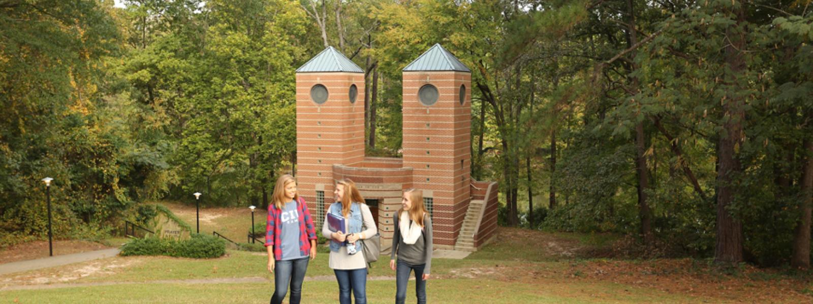 CIU students in front of the prayer towers.
